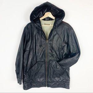 MIKE & CHRIS Hooded Leather Jacket Unisex Pockets